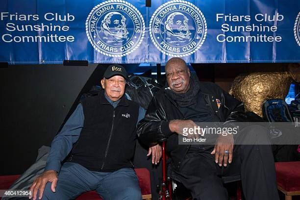 David Norman Dinkins 106th Mayor of New York City and Former NBA athlete Cal Ramsey attends the Friars Club's Sunshine Committee Holiday Party at the...