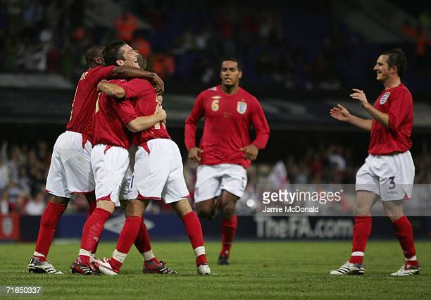 David Nugent celebrates Englands second goal with team mates during the UEFA European Under 21's Group 8 match between England U21's and Moldova...