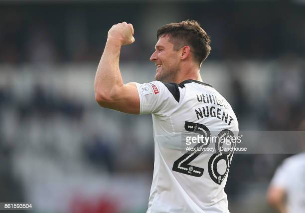 David Nugent of Derby County celebrates after scoring the second goal during the Sky Bet Championship match between Derby County and Nottingham...