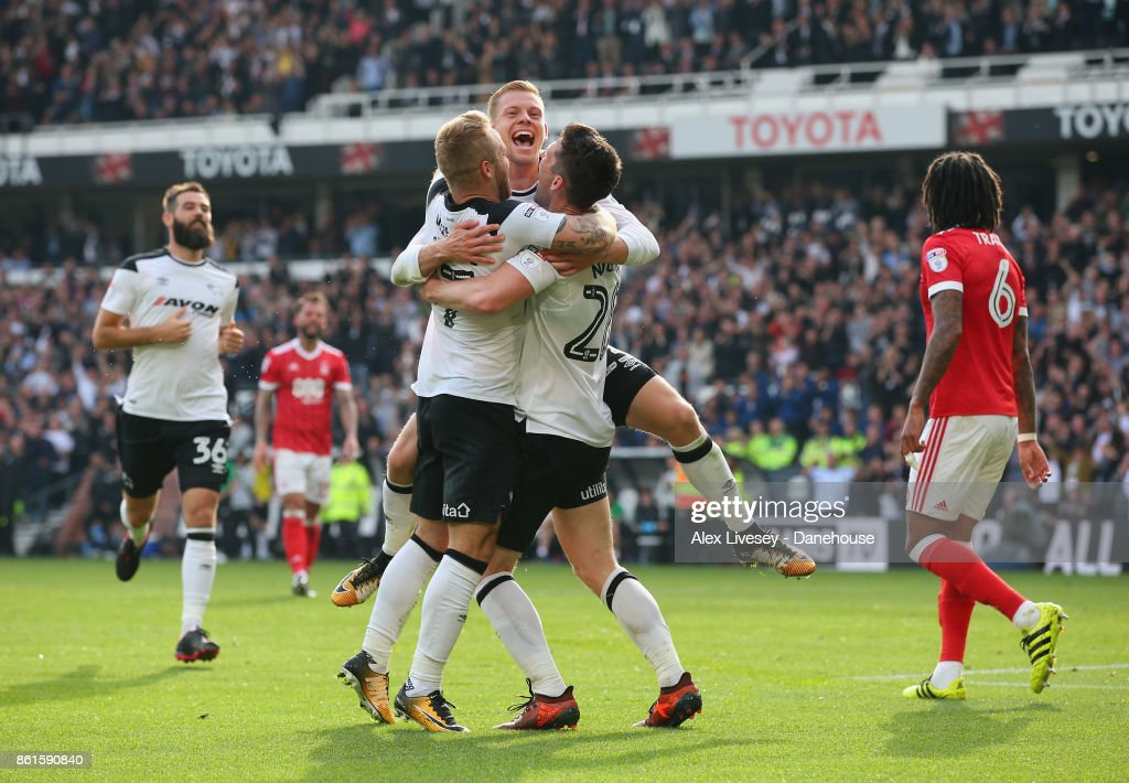 David Nugent Of Derby County Celebrates With Matej Vydra