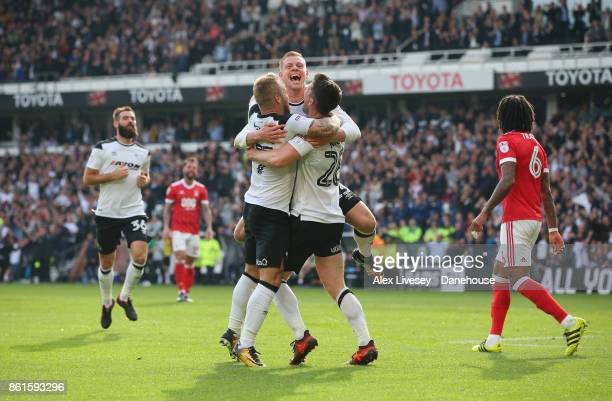 David Nugent of Derby County celebrates with Matej Vydra after scoring the second goal during the Sky Bet Championship match between Derby County and...