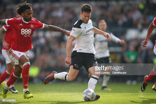 David Nugent of Derby County scores the second goal during the Sky Bet Championship match between Derby County and Nottingham Forest at iPro Stadium...