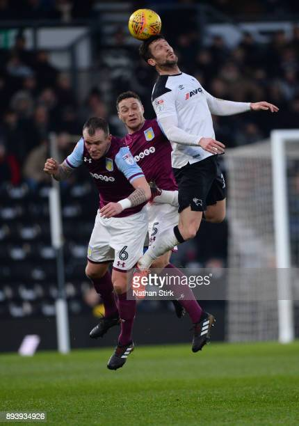 David Nugent of Derby County wins a header during the Sky Bet Championship match between Derby County and Aston Villa at iPro Stadium on December 16...