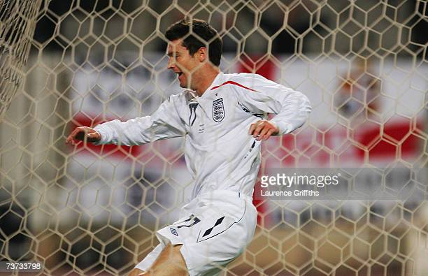David Nugent of England celebrates scoring the third goal during the Euro 2008 Qualifying Match between Andorra and England at the Olympic Stadium on...