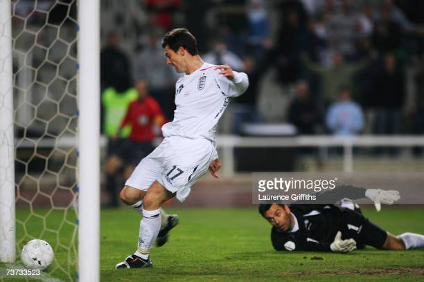 David Nugent of England scores the third goal past J L Alvarez during the Euro 2008 Qualifying Match between Andorra and England at the Olympic...