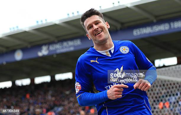 David Nugent of Leicester celebrates after scoring their 1st goal during the Sky Bet Championship match between Leicester City and Queens Park...