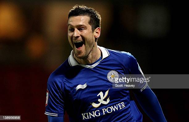 David Nugent of Leicester celebrates after scoring their second goal during the npower Championship match between Watford and Leicester City at...