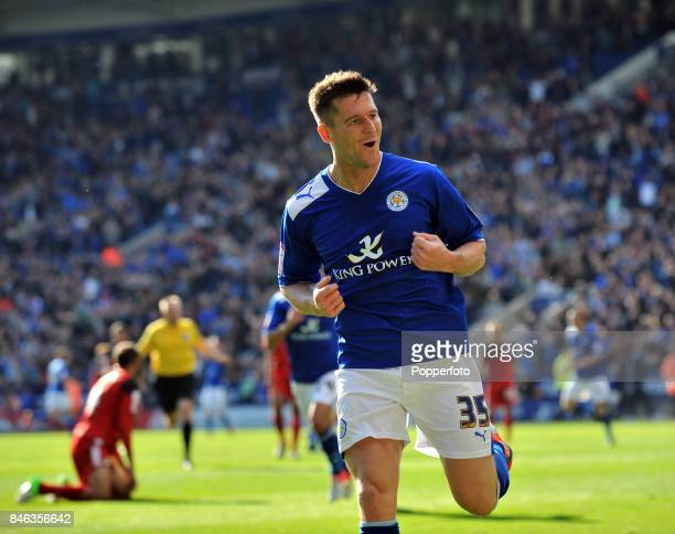 David Nugent of Leicester celebrates his goal during the npower Championship match between Leicester City and Cardiff City at the King Power Stadium...