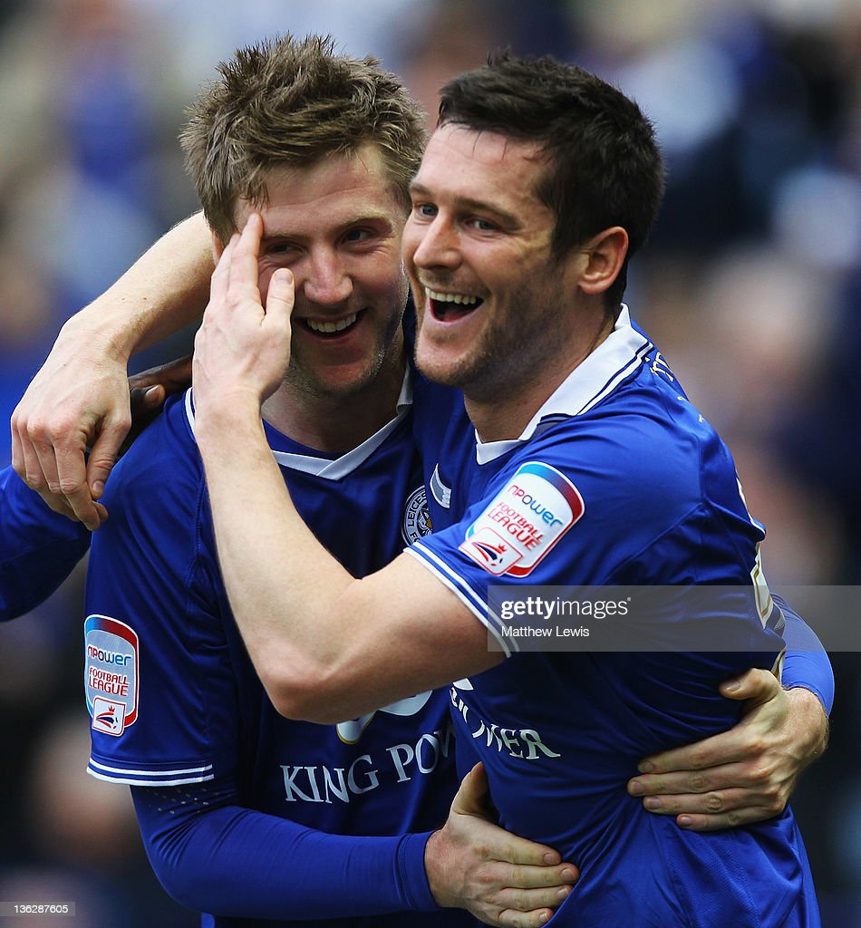 David Nugent of Leicester celebrates his goal with Paul Gallagher during the npower Championship match between Leicester City and Portsmouth at The King Power Stadium on December 31, 2011 in Leicester, England.