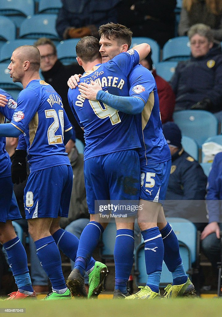 David Nugent of Leicester City celebrates scoring their first goal during the Sky Bet Championship match between Leeds United and Leicester City at Elland Road on January 18, 2014 in Leeds, England,