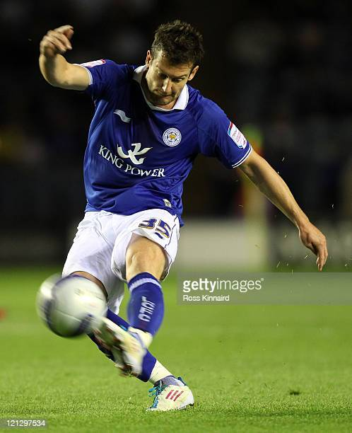 David Nugent of Leicester fires in a shot during the npower Championship match between Leicester City and Bristol City at The King Power Stadium on...