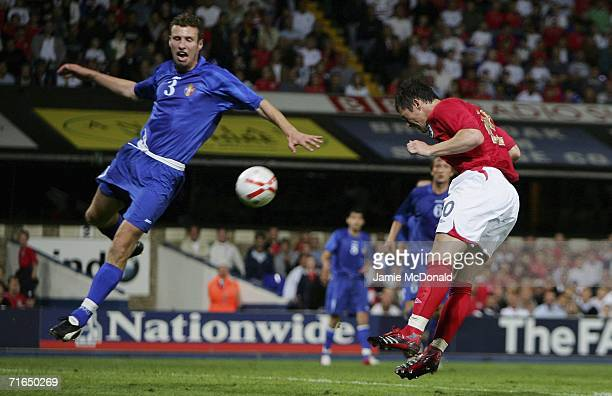 David Nugent scores Englands second goal during the UEFA European Under 21's Group 8 match between England U21's and Moldova U21's at Portman Road on...