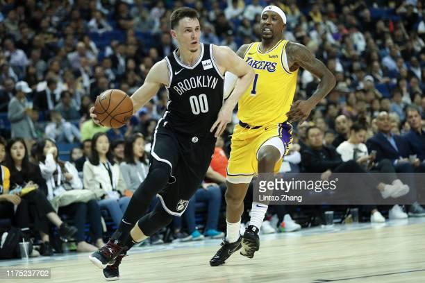 David Nwaba of the Brooklyn Nets in action against Kentavious CaldwellPope of the Los Angeles Lakers during a preseason game as part of 2019 NBA...