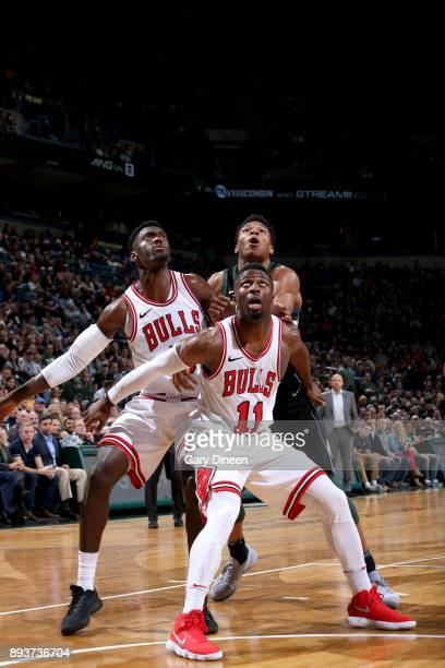 David Nwaba of the Chicago Bulls boxes out against the Milwaukee Bucks on December 15 2017 at the BMO Harris Bradley Center in Milwaukee Wisconsin...