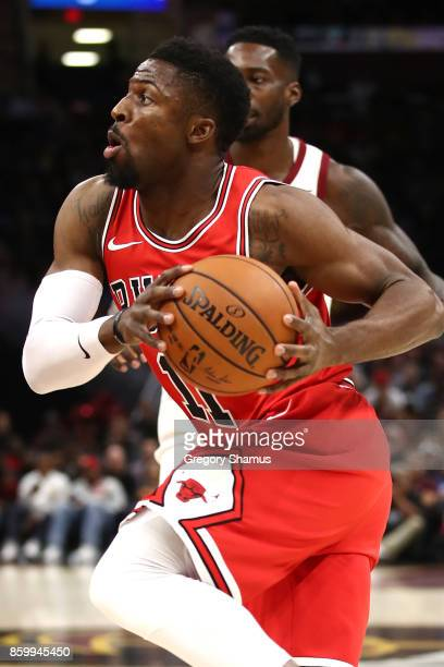 David Nwaba of the Chicago Bulls drives to the basket in the first half while playing the Cleveland Cavaliers during a pre season game at Quicken...