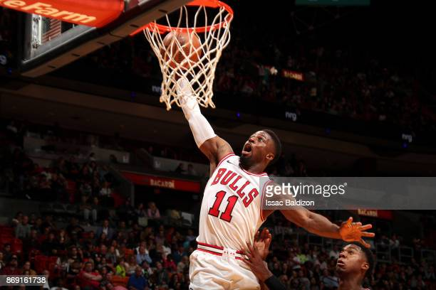 David Nwaba of the Chicago Bulls dunks the ball against the Miami Heat on November 1 2017 at American Airlines Arena in Miami Florida NOTE TO USER...