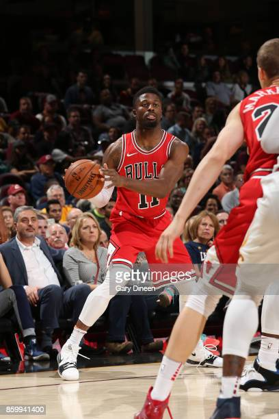 David Nwaba of the Chicago Bulls handles the ball against the Cleveland Cavaliers during a preseason game on October 10 2017 at Quicken Loans Arena...