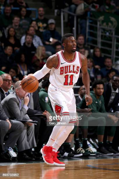 David Nwaba of the Chicago Bulls handles the ball against the Milwaukee Bucks on December 15 2017 at the BMO Harris Bradley Center in Milwaukee...