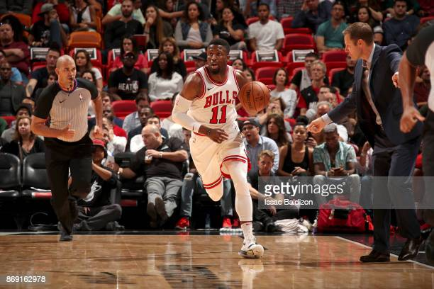 David Nwaba of the Chicago Bulls handles the ball against the Miami Heat on November 1 2017 at American Airlines Arena in Miami Florida NOTE TO USER...