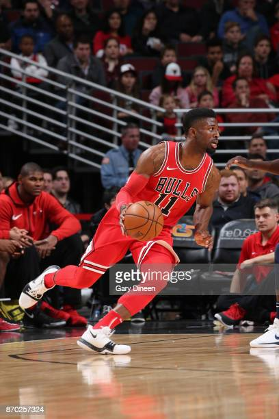 David Nwaba of the Chicago Bulls handles the ball against the New Orleans Pelicans on November 4 2017 at the United Center in Chicago Illinois NOTE...