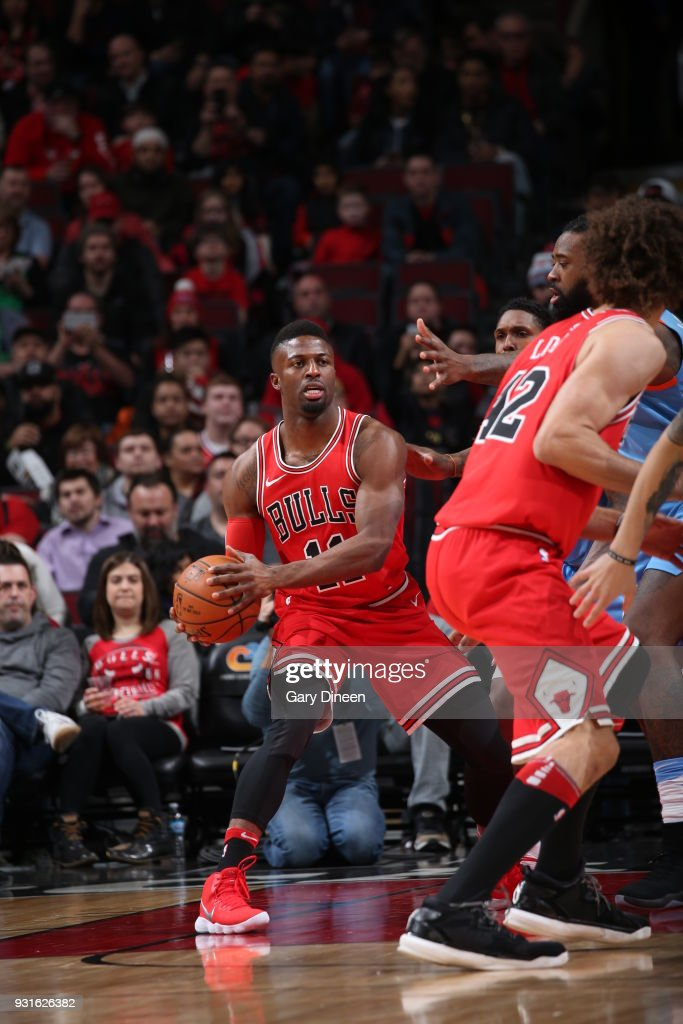 David Nwaba #11 of the Chicago Bulls handles the ball against the LA Clippers on March 13, 2018 at the United Center in Chicago, Illinois.