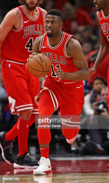 David Nwaba of the Chicago Bulls moves against the Sacramento Kings at the United Center on December 1 2017 in Chicago Illinois The Kings defeated...