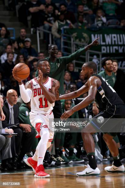 David Nwaba of the Chicago Bulls passes the ball against the Milwaukee Bucks on December 15 2017 at the BMO Harris Bradley Center in Milwaukee...