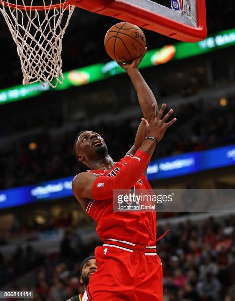 David Nwaba of the Chicago Bulls puts up a shot against the Atlanta Hawks at the United Center on October 26 2017 in Chicago Illinois NOTE TO USER...