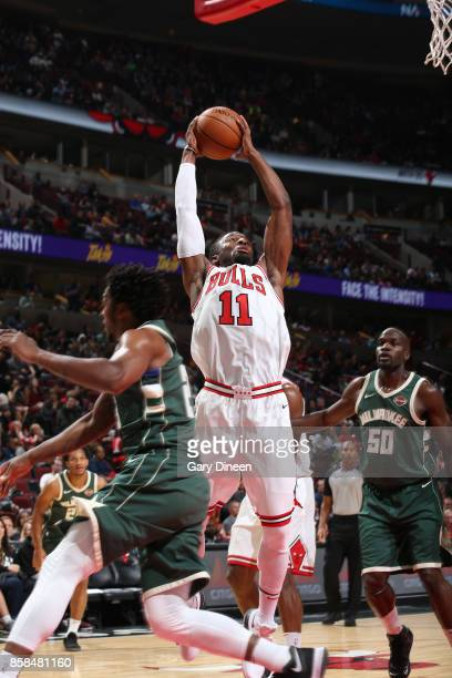 David Nwaba of the Chicago Bulls shoots the ball against the Milwaukee Bucks during the preseason game on October 6 2017 at the United Center in...