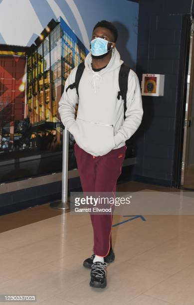 David Nwaba of the Houston Rockets arrives prior to a game against the Denver Nuggets on December 28, 2020 at the Pepsi Center in Denver, Colorado....