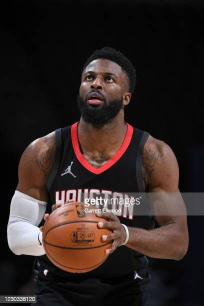 David Nwaba of the Houston Rockets shoots a free throw during the game against the Denver Nuggets on December 28, 2020 at the Pepsi Center in Denver,...
