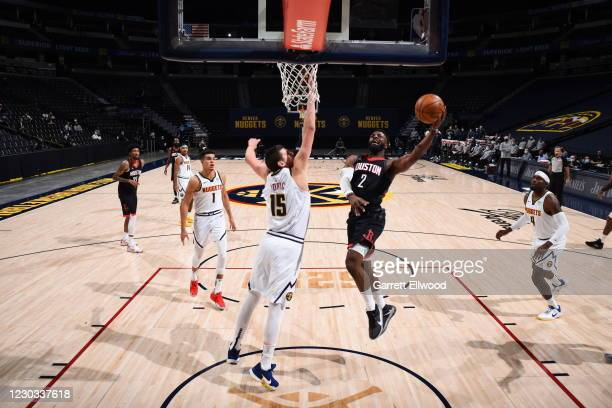 David Nwaba of the Houston Rockets shoots the ball during the game against the Denver Nuggets on December 28, 2020 at the Pepsi Center in Denver,...