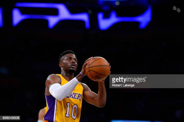 David Nwaba of the Los Angeles Lakers attempts a free throw during the game against the Milwaukee Bucks on March 17 2017 at STAPLES Center in Los...