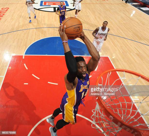 David Nwaba of the Los Angeles Lakers dunks against the LA Clippers during the game on April 1 2017 at STAPLES Center in Los Angeles California NOTE...
