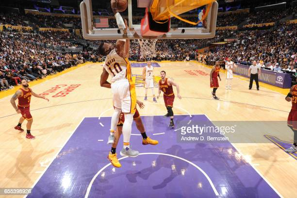 David Nwaba of the Los Angeles Lakers dunks againt the Cleveland Cavaliers on March 19 2017 at STAPLES Center in Los Angeles California NOTE TO USER...