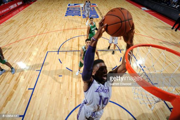 David Nwaba of the Los Angeles Lakers dunks the ball during the game against the Boston Celtics during the 2017 Las Vegas Summer League on July 8...