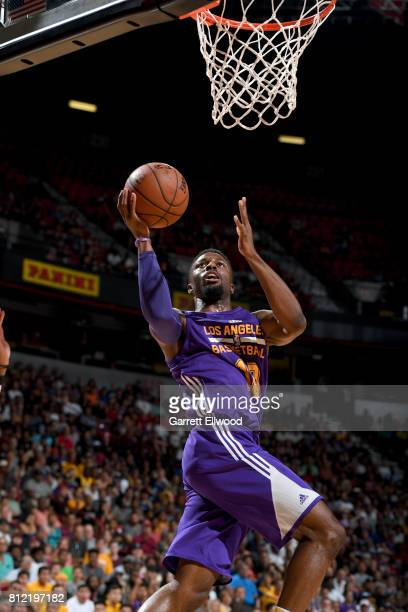 David Nwaba of the Los Angeles Lakers goes to the basket against the Sacramento Kings on July 10 2017 at the Thomas Mack Center in Las Vegas Nevada...