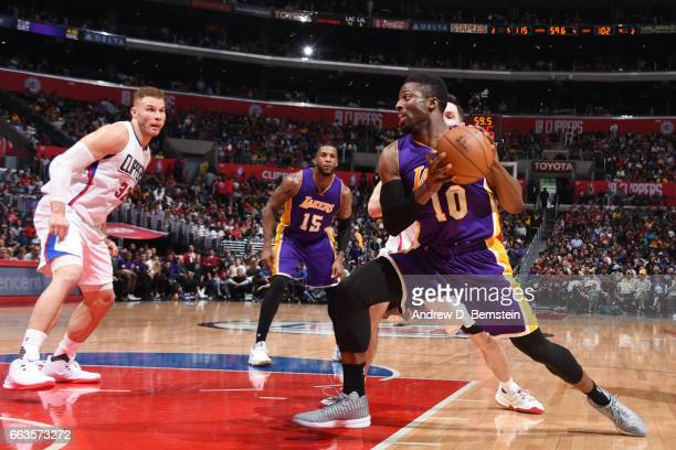 David Nwaba of the Los Angeles Lakers handles the ball against the LA Clippers during the game on April 1 2017 at STAPLES Center in Los Angeles...