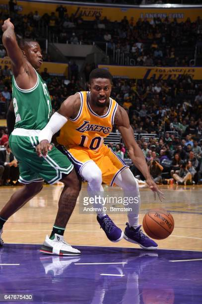David Nwaba of the Los Angeles Lakers handles the ball during a game against the Boston Celtics on March 3 2017 at STAPLES Center in Los Angeles...