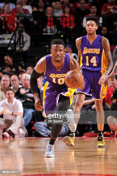David Nwaba of the Los Angeles Lakers handles the ball during a game against the Houston Rockets on March 15 2017 at the Toyota Center in Houston...