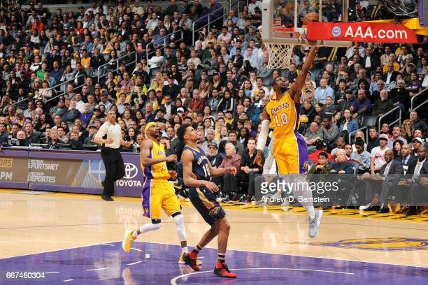David Nwaba of the Los Angeles Lakers shoots a lay up during the game against the New Orleans Pelicans on April 11 2017 at STAPLES Center in Los...