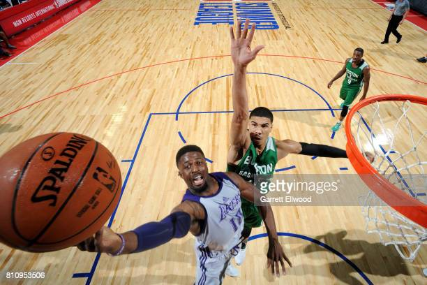 David Nwaba of the Los Angeles Lakers shoots a lay up during the game against the Boston Celtics during the 2017 Las Vegas Summer League on July 8...