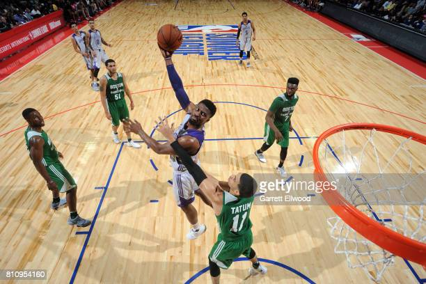 David Nwaba of the Los Angeles Lakers shoots the ball during the game against the Boston Celtics during the 2017 Las Vegas Summer League on July 8...