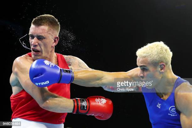 David Nyika of New Zealand and Jason Whateley of Australia compete in the Men's 91kg Final Boxing Bout on day 10 of the Gold Coast 2018 Commonwealth...