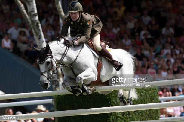 David O'Brien riding Mo Choi in the DFS Derby in the DFS Derby during the Hickstead Horse Show at the All England Jumping Course, Hickstead.