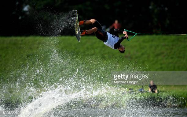 David O'Caoimh of Ireland competes during the Wakeboard Freestyle Men's Quarterfinal of The World Games at Old Odra River on July 25 2017 in Wroclaw...