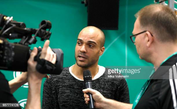 David Odonkor as guest interviewed during the final of the DFB Indoor Football match BJunioren between 1FC Koeln and TuS Komet Arsten on March 25...