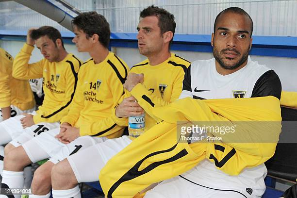 David Odonkor of Aachen sits on the substitutes bench prior to the Second Bundesliga match between SC Paderborn and Alemannia Aachen at the...