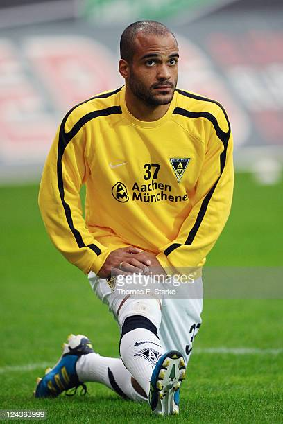 David Odonkor of Aachen warms up prior to the Second Bundesliga match between SC Paderborn and Alemannia Aachen at the Energieteam Arena on September...