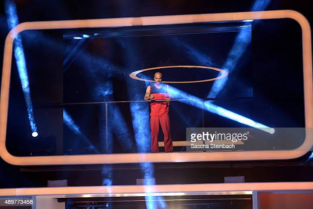 David Odonkor reacts after winning the final show of Promi Big Brother 2015 at MMC studios on August 28 2015 in Cologne Germany